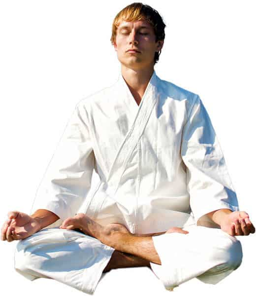 Martial Arts Lessons for Adults in Campbell CA - Young Man Thinking and Meditating in White