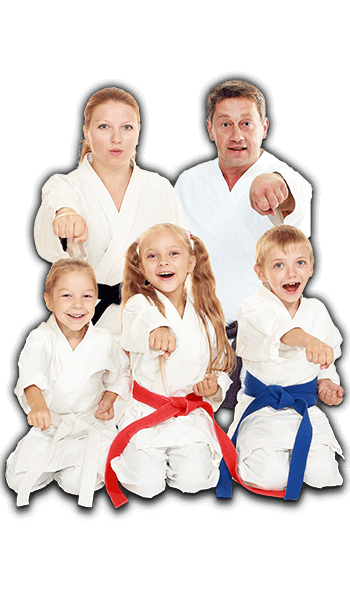Martial Arts Lessons for Families in Campbell CA - Sitting Group Family Banner