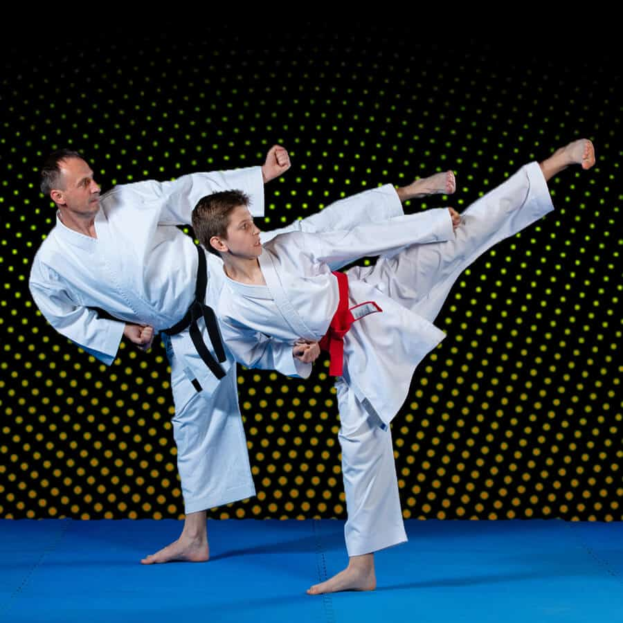 Martial Arts Lessons for Families in Campbell CA - Dad and Son High Kick