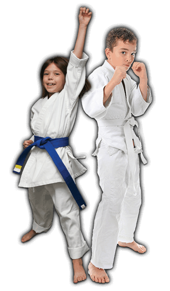 Martial Arts Lessons for Kids in Campbell CA - Happy Blue Belt Girl and Focused Boy Banner